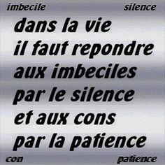 Les imbeciles et les cons ou patience et silence...
