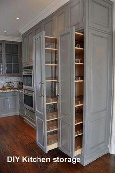 Kitchen Cabinet Organization, Kitchen Storage, Storage Spaces, Kitchen Cabinets, Organization Ideas, Cabinet Ideas, Kitchen Counters, Wood Countertops, Storage Ideas