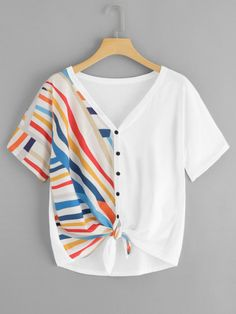 Shop Plus Button Through Knot Hem Striped Tee online. SheIn offers Plus Button Through Knot Hem Striped Tee & more to fit your fashionable needs. Crop Top Outfits, Cute Casual Outfits, Stylish Outfits, Men Casual, Casual Styles, Casual Clothes, Teen Fashion Outfits, Girl Outfits, Fashion Men