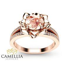 Anello di diamante Morganite fiore anello di fidanzamento 14k