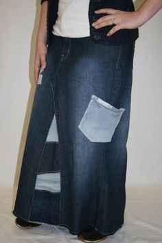 Long Jean Skirt with Patches and Pocket, Made To Order