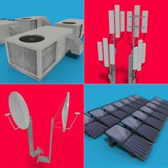 Satelite dish antennae solar power panels and Roof top elements