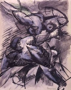 Dynamic Decomposition by Italian artist Umberto Boccioni This abstract was painted in Milan and now held at the Castello Sforzesco, also in Milan. Italian Painters, Italian Artist, Reggio, Umberto Boccioni, Italian Futurism, Futurism Art, Lascaux, 1920s Art, Abstract Drawings