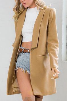 Khaki Button Front Duster Coat