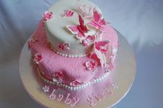 butterfly theme baby shower cakes | This adorable cake was an order for a special friend expecting a ...