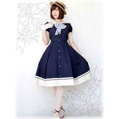 夏季女洛丽塔公主洋装上新款复古典雅海军领日常短袖连衣裙特价