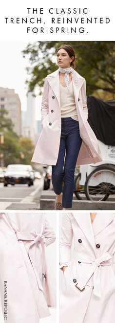 One of your favorite new spring coats will be the Mackintosh Trench, an update to the classic with a blushing pink color, an oversized collar, and superb details. Shop now at Banana Republic.