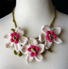 Crochet orchid necklace by meekssandygirl.deviantart.com on @deviantART