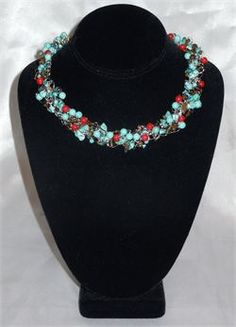 Wire Crocheted Turquoise, Red Coral and Tigers Eye Full Crocheted Necklace Set