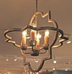 Atlas French Country Quatrefoil Antique Silver Iron Chandelier | Kathy Kuo Home