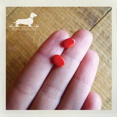 Mini Red Rocks Post Earrings  Red Studs Small by PickleDogDesign, $6.50