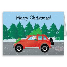 Saluki Driving Christmas Car with Tree on Top Greeting Card
