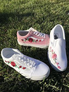 adf1cd0e6f45 Custom Rose Embroidered Vans  weddingshoes Cool Vans Shoes