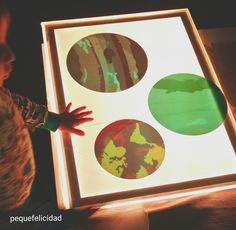 Hoy voy a enseñarte un montón de ideas y materiales que usamos en casa para aprender, jugar y experimentar con la mesa de luz.    ... Activities For Kids, Crafts For Kids, Moon Crafts, Never Grow Up, Light Project, Reggio Emilia, Light Table, Frame, Projects