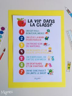 Here are the 7 basic rules for a harmonious life in class, group . Classroom Setup, School Classroom, Classroom Activities, Classroom Organization, Classroom Management, French Language Lessons, French Language Learning, Kindergarten First Week, All About Me Preschool