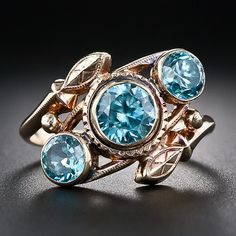 Vintage Blue Zircon Ring - 30-1-5158 - Lang Antiques