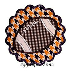 Scalloped Framed Football Applique - 3 Sizes! | Football | Machine Embroidery Designs | SWAKembroidery.com Applique Time