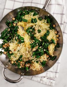Spaghetti Squash with Chickpeas and Kale is an easy vegetarian dinner for weeknights!