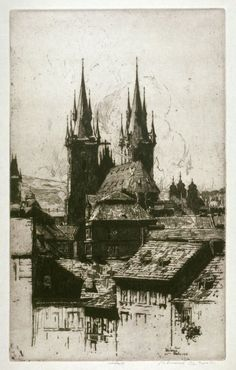 Jan Vondrous (Czech Prague- etching, signed and dated in pencil, light struck. Pictures To Draw, Old Pictures, Tattoo Prague, Prague Architecture, A Level Art Sketchbook, Oil Painting Abstract, Encaustic Painting, Painting Art, Watercolor Painting