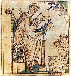 Il.luminació del s.XII / XIII. Se encuentra en la Iglesia de San Bernardo. Podemos a ver a una almanuense escribiendo sentado en una silla y apoyándose en un atril.