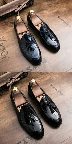 Prelesty Simple Mens Shoes Penny Loafers Patent Leather Dress Formal - Loafers Outfit - Ideas of Loa Mens Dress Loafers, Loafers Outfit, Loafer Shoes, Loafers Men, Leather Loafers For Men, Mocassin Shoes, Black Loafers, Black Formal Shoes, Formal Shoes For Men
