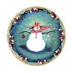 """""""Snow Much Fun"""" by P Buckley Moss.  Porcelain Ornament. Issued 2002. Diameter: 3-5/16 ins.  $30. #canadagoosegallery #waynesvilleohio #pbuckleymoss #pbuckleymossart #pbuckleymossgifts #gifts #giftitems #porcelainornaments #porcelainchristmasornaments #christmasornaments #snowman #snowmancollectibles"""