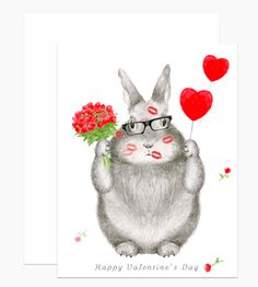 Illustrated by Dear Hancock. Send Valentine's day love with this graphite bunny ravaged in kisses.