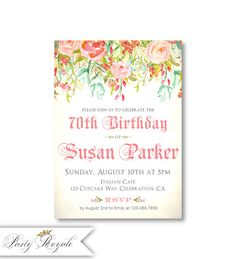 Womens Birthday Invitations 70th Invite For Woman Adult Party 90th