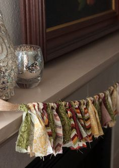 Fall Bunting // Fall Swag // Fall Fabric Bunting // - bring the fall indoors with this fall rag banner! Perfect for your mantle!