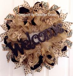 Burlap Wreath Deco Mesh Wreath Welcome Wreath by DawslynDecor