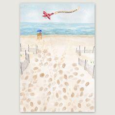 SALE Beach Thumbprint Guestbook Wedding Thumbprint