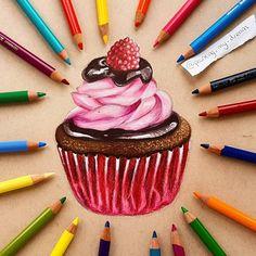 Gabriele15 ans sur Instagram: Mini dessin de cupcake. Appuyez deux fois si vous voulez un cupcake. Cela na pris que quelques heures mais jespère que vous laimerez tous et peut-être que je commencerai à être
