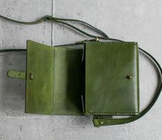 Classy Handstitched green leather camera case by EarthyLeather
