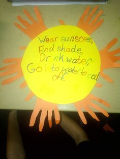 For Health today we talked all about sun safety. We used paper plates to trace the sun on yellow paper. Then the students traced their hands on orange paper to make the rays. They wrote their sun safety tips in the center.