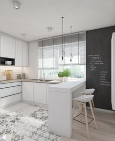 White contemporary kitchen cabinets – Notice that these kinds of kitchens are such a great idea, maybe you will even consider redoing your kitchen according to this clear trend. For more trends like this go to White Contemporary Kitchen, Contemporary Kitchen Cabinets, White Kitchen Cabinets, Kitchen White, Neutral Kitchen, Kitchen Living, New Kitchen, Kitchen Modern, Kitchen Ideas