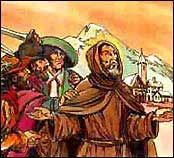 """ST. FIDELIS OF SIGMARINGEN - Born in Sigmaringen, Germany.  He led a group of Capuchins to preach to Calvinists and Zwinglians in Switzerland. The success of this work, and lack of violence suffered, was attributed to Fidelis spending his nights in prayer. He was, however, eventually martyred for his preaching. Feast day is April 24.  Known as the """"Poor Man's Lawyer."""""""