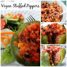 These vegan stuffed peppers are easy to make and taste great! The filling can be used in peppers or as a burrito or taco filling. Easy and delicious! Veggie Recipes, Whole Food Recipes, Diet Recipes, Vegetarian Recipes, Cooking Recipes, Healthy Recipes, Vegan Foods, Vegan Dishes