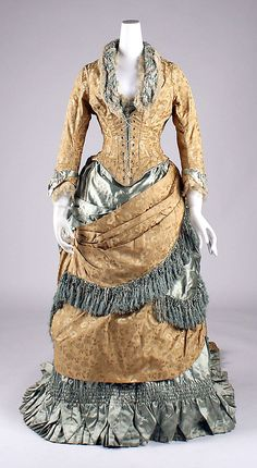 Silk and cotton dress, 1880s, American.