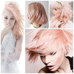 this is the color I want!  Has a Goldwell colorist how-to attached.  This delicate shade of peachy rose is a mix of icy blond and #rose_gold that creates a delicate, muted pastel.