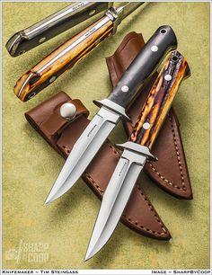 Mammoth and Sambar Stag 3/4 Boot Knives