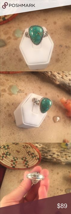 Vintage Navajo Turquoise & Sterling Ring Size 8.5 Authentic vintage Navajo Sterling Silver & Turquoise ring size 8.5. This ring is in excellent vintage condition. The ring is right at 3/4 of an inch long and 5/8 of an inch wide. This piece is signed by the artist Ceejaye Livingston & stamped Sterling.  Thank you for looking, please contact me with any questions. Jewelry Rings