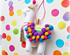 Items similar to Rainbow Party Birthday Llama Alpaca Hanging Ornament Decoration Theme Decor Fiesta Personalised on Etsy Hanging Ornaments, Felt Ornaments, Alpacas, Felt Crafts, Diy Crafts, Llama Birthday, Rainbow Parties, Llama Alpaca, Pom Pom Trim