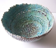 Neptune's Bowl by Lisa Stevens (c-urchin). Large bowl, highly textured and pierced. Raku fired with a turquoise/copper crackle glaze