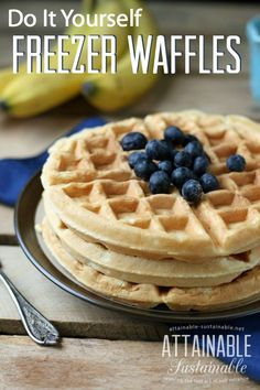 If Eggo waffles are part of your rushed weekday mornings, consider this option: DIY Freezer Waffles. Fewer artificial ingredients and less packaging/waste. And I daresay, they *taste better, too!