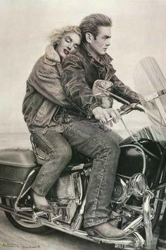 James Dean and Marilyn Monroe Motorcycle Memory Art Poster 24x36