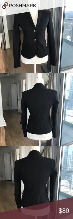 """Theory """"Bindi"""" Black 2-Button Blazer Jacket Perfect tailored blazer from Theory. Size 4. No flaws! Stretch cotton helps this blazer transition easily from work to play. Measurements: approximately 17"""" armpit to armpit, 21.5"""" long from collar to hem, waist is about 15"""". Offers welcome, no trades. Theory Jackets & Coats Blazers"""
