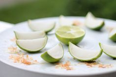 Lime in the Coconut Jello Shots - took a second to get my groove shelling out the lime. it is pretty delish!!