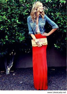 Red Maxi Skirt with jean jacket