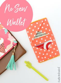 DIY Wallet Tutorial: No Sew Fabric Wallet - Consumer Crafts Wood Crafts fabric crafts Diy Craft Projects, Diy And Crafts Sewing, Crafts To Sell, Sewing Projects, Sell Diy, Sewing Diy, No Sew Crafts, Easy Crafts, Easy Diy