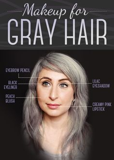 We consulted makeup artist Yana Markevich about which colors work best with gray hair. Eyebrow Pencil: Use a light, cool-toned eyebrow pencil to create a fulle Grey Hair Eyebrows, Grey Hair And Makeup, How To Color Eyebrows, Hair Makeup, Grey Hair Eyebrow Color, Makeup Art, Makeup Ideas, Makeup Tips, Eye Makeup